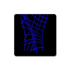 Neon Blue Abstraction Square Magnet by Valentinaart