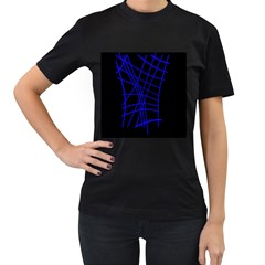 Neon Blue Abstraction Women s T Shirt (black) (two Sided) by Valentinaart