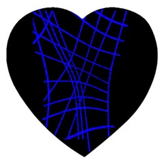 Neon blue abstraction Jigsaw Puzzle (Heart) by Valentinaart
