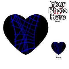Neon Blue Abstraction Multi Purpose Cards (heart)  by Valentinaart