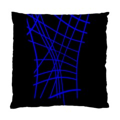 Neon Blue Abstraction Standard Cushion Case (one Side) by Valentinaart