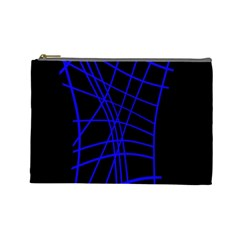 Neon Blue Abstraction Cosmetic Bag (large)  by Valentinaart