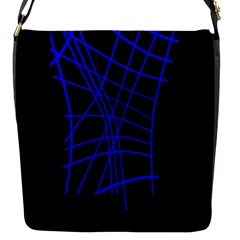 Neon Blue Abstraction Flap Messenger Bag (s) by Valentinaart