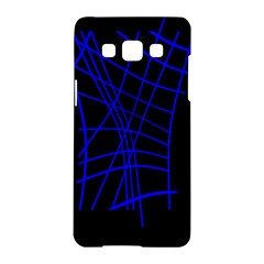 Neon Blue Abstraction Samsung Galaxy A5 Hardshell Case  by Valentinaart