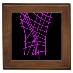 Neon Purple Abstraction Framed Tiles by Valentinaart