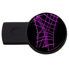 Neon Purple Abstraction Usb Flash Drive Round (4 Gb)  by Valentinaart