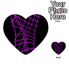 Neon Purple Abstraction Multi Purpose Cards (heart)  by Valentinaart