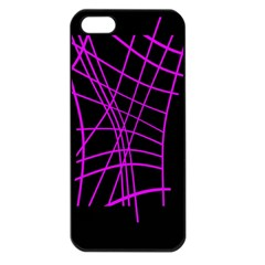 Neon Purple Abstraction Apple Iphone 5 Seamless Case (black) by Valentinaart