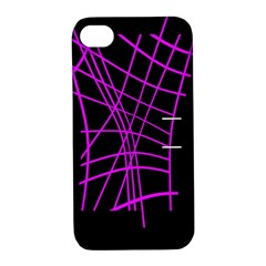 Neon Purple Abstraction Apple Iphone 4/4s Hardshell Case With Stand by Valentinaart