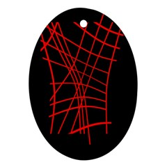 Neon Red Abstraction Ornament (oval)  by Valentinaart
