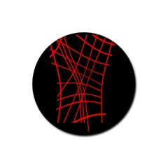 Neon Red Abstraction Rubber Coaster (round)  by Valentinaart