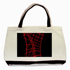 Neon Red Abstraction Basic Tote Bag by Valentinaart