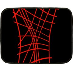 Neon Red Abstraction Fleece Blanket (mini) by Valentinaart