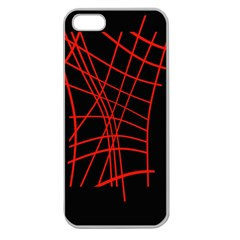Neon Red Abstraction Apple Seamless Iphone 5 Case (clear) by Valentinaart
