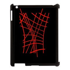 Neon Red Abstraction Apple Ipad 3/4 Case (black) by Valentinaart