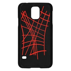Neon Red Abstraction Samsung Galaxy S5 Case (black) by Valentinaart
