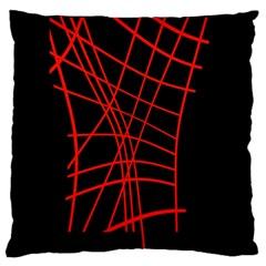 Neon Red Abstraction Standard Flano Cushion Case (two Sides) by Valentinaart