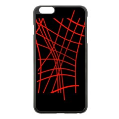 Neon Red Abstraction Apple Iphone 6 Plus/6s Plus Black Enamel Case by Valentinaart