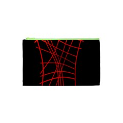 Neon Red Abstraction Cosmetic Bag (xs) by Valentinaart