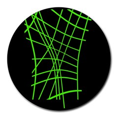 Green Neon Abstraction Round Mousepads by Valentinaart