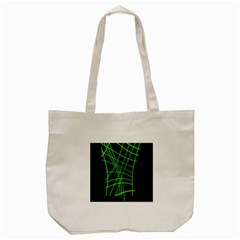 Green Neon Abstraction Tote Bag (cream) by Valentinaart