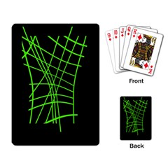 Green Neon Abstraction Playing Card by Valentinaart