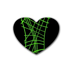 Green Neon Abstraction Heart Coaster (4 Pack)  by Valentinaart