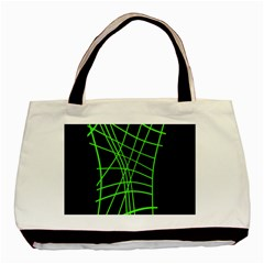 Green Neon Abstraction Basic Tote Bag (two Sides) by Valentinaart