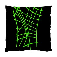Green Neon Abstraction Standard Cushion Case (one Side) by Valentinaart