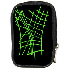Green Neon Abstraction Compact Camera Cases by Valentinaart