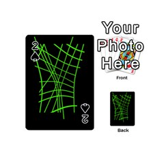 Green Neon Abstraction Playing Cards 54 (mini)  by Valentinaart