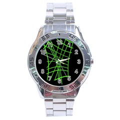 Green neon abstraction Stainless Steel Analogue Watch