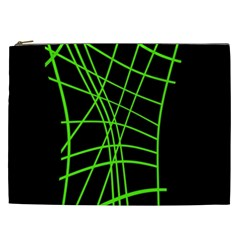 Green Neon Abstraction Cosmetic Bag (xxl)  by Valentinaart