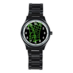 Green Neon Abstraction Stainless Steel Round Watch by Valentinaart