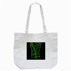 Green Neon Abstraction Tote Bag (white) by Valentinaart
