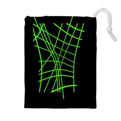 Green Neon Abstraction Drawstring Pouches (extra Large) by Valentinaart