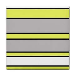 Yellow And Gray Lines Tile Coasters by Valentinaart