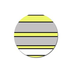 Yellow And Gray Lines Magnet 3  (round) by Valentinaart