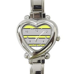 Yellow And Gray Lines Heart Italian Charm Watch by Valentinaart