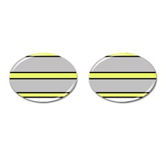 Yellow And Gray Lines Cufflinks (oval) by Valentinaart