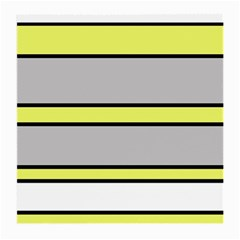 Yellow And Gray Lines Medium Glasses Cloth by Valentinaart