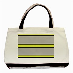 Yellow And Gray Lines Basic Tote Bag (two Sides) by Valentinaart