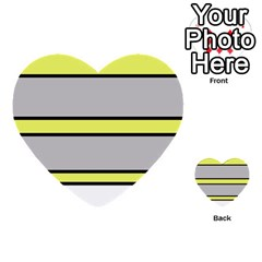 Yellow And Gray Lines Multi Purpose Cards (heart)