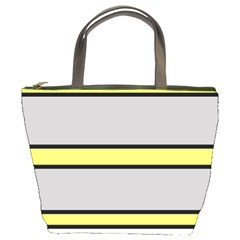 Yellow And Gray Lines Bucket Bags by Valentinaart