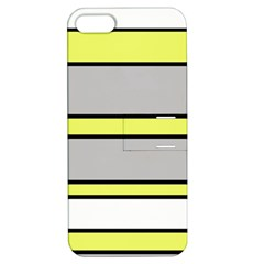 Yellow And Gray Lines Apple Iphone 5 Hardshell Case With Stand by Valentinaart