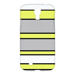 Yellow And Gray Lines Samsung Galaxy S4 I9500/i9505 Hardshell Case by Valentinaart