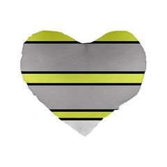 Yellow And Gray Lines Standard 16  Premium Flano Heart Shape Cushions by Valentinaart
