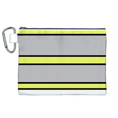 Yellow And Gray Lines Canvas Cosmetic Bag (xl) by Valentinaart