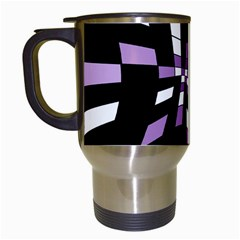 Purple Abstraction Travel Mugs (white) by Valentinaart
