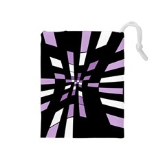 Purple Abstraction Drawstring Pouches (medium)  by Valentinaart